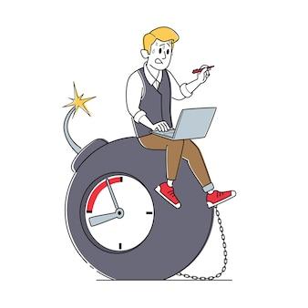 Caractère d'homme d'affaires transpirant assis sur une énorme bombe avec fusible brûlant et horloge à retardement