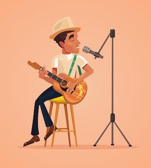 Caractère de l'homme chanteur chanter la chanson et jouer de la guitare