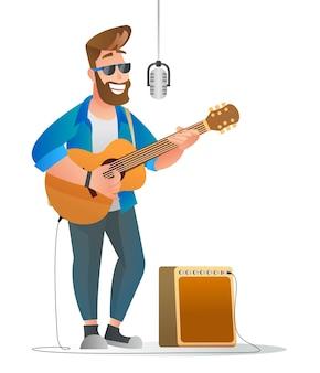 Caractère de l'homme chanteur avec illustration de guitare acoustique