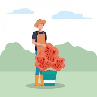 Caractère homme et concept de jardinage