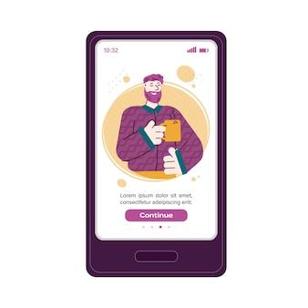 Caractère de l'homme confiant sur l'illustration de vecteur d'écran de téléphone portable isolé