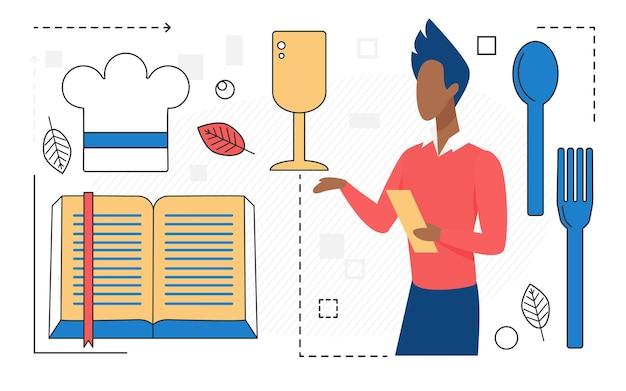 Caractère d'homme de cuisine de nourriture avec l'icône de ligne d'outils de chef de livre de cuisine d'isolement