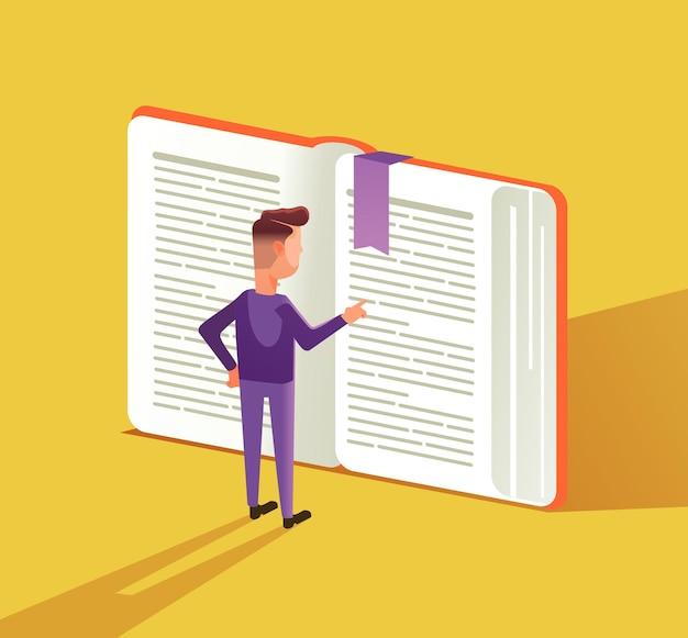 Caractère de l'homme intelligent lisant un gros livre