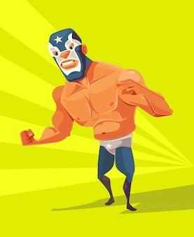 Caractère de l'homme lutteur en colère. illustration de dessin animé plat