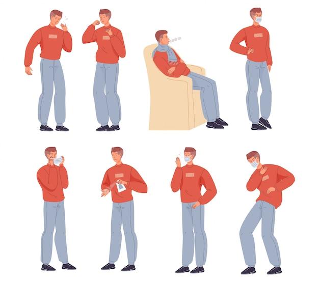 Caractère d'homme malade ayant des symptômes de rhume ou de grippe