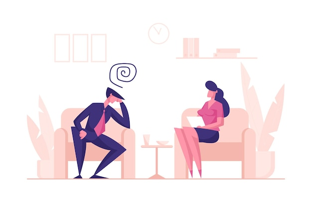 Caractère d'homme malheureux assis sur un canapé à un rendez-vous psychologue pour une aide professionnelle