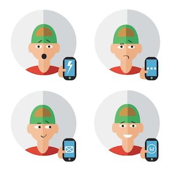 Caractère de l'homme avec téléphone portable à la main des émotions humaines définies illustration vectorielle isolé