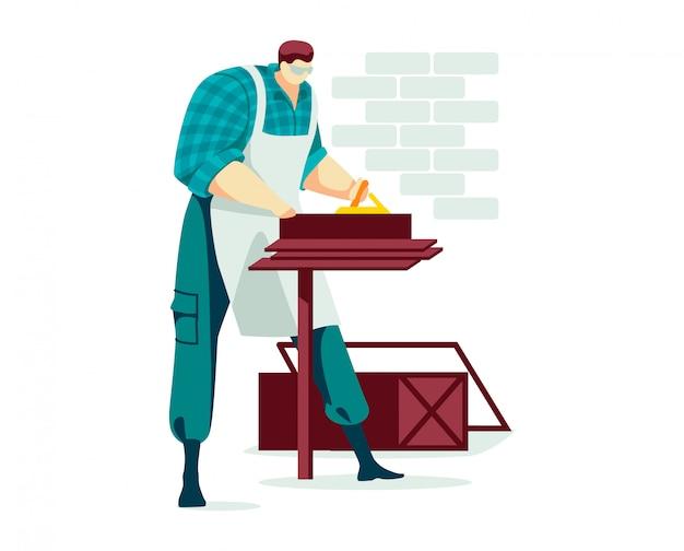 Caractère d'homme de travail manuel, profession masculine de menuiserie transformation du bois professionnelle