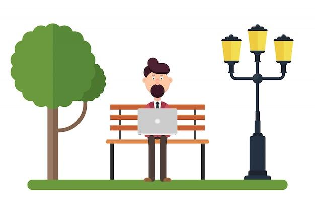 Caractère de l'homme travaillant sur le banc dans l'illustration du parc