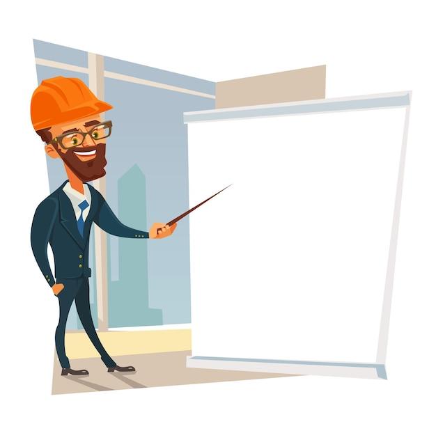 Caractère d'homme de travailleur contremaître constructeur faisant la présentation. illustration de dessin animé plane vectorielle