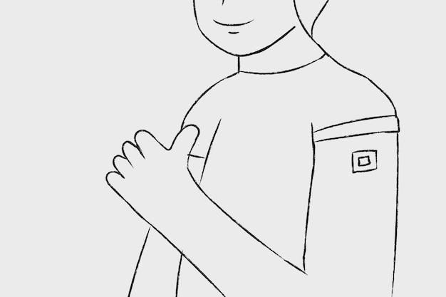 Caractère de l'homme vacciné vecteur dessiné à la main de la vaccination