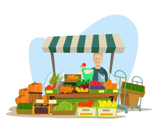 Caractère d'homme de vendeur de fruits et légumes