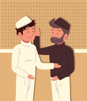 Caractère des hommes arabes en vêtements traditionnels