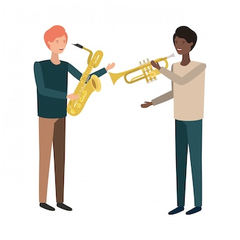 Caractère d'hommes avec instruments de musique