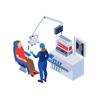 Caractère humain faisant un examen médical dans l'illustration isométrique de la clinique d'oto-rhino-laryngologie