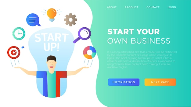 Caractère avec l'icône de démarrage d'entreprise doodle