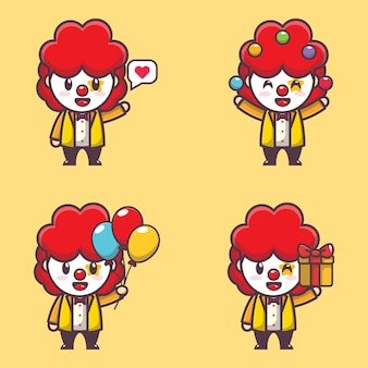 Caractère d'illustration de clown mignon