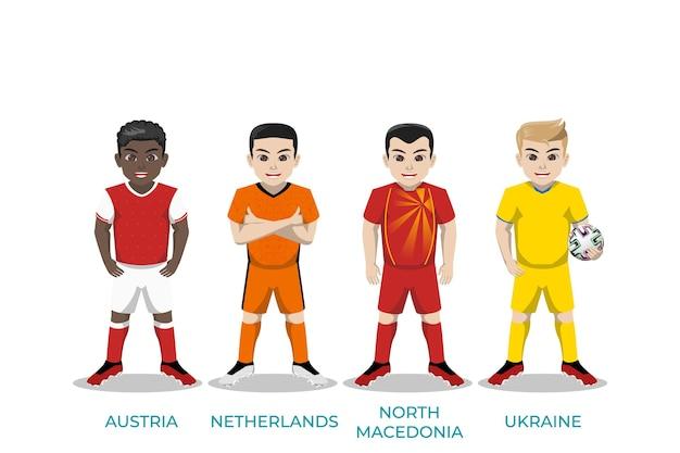 Caractère d'illustration du joueur de football pour le championnat d'europe