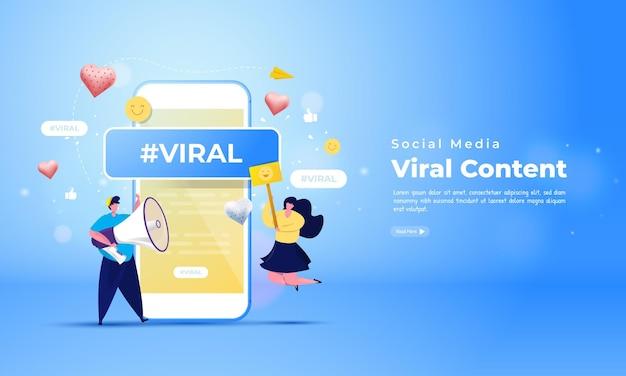 Caractère d'influenceur de personnes sur le réseau social avec concept de sujet viral