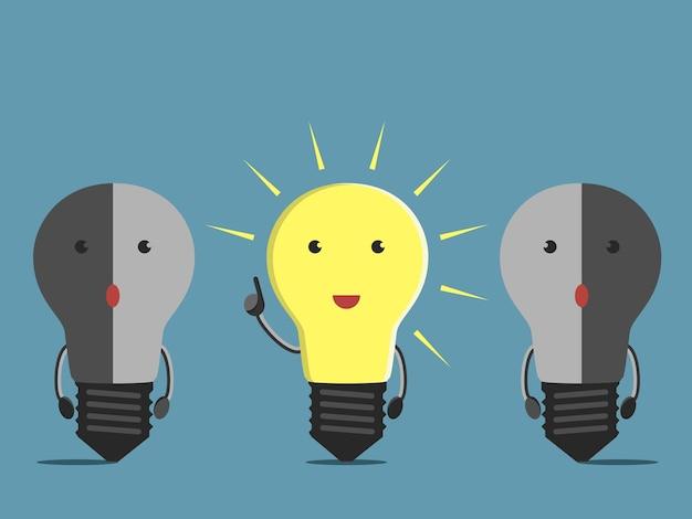 Caractère inspiré de l'ampoule rougeoyante au moment de la perspicacité et deux confus ternes. illustration vectorielle eps 10, pas de transparence