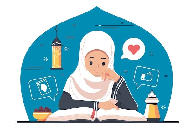 Caractère islamique lisant le coran, le coran