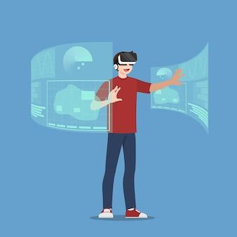 Caractère de jeune homme beau qui porte des lunettes vr jouant à un jeu en ligne en se connectant sur internet