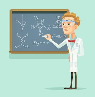 Caractère de jeune professeur scientifique avec tableau noir en classe.