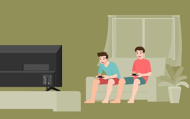 Caractère de jeunes hommes beaux, jouant à un jeu en ligne de console en se connectant à internet sur grand écran plat
