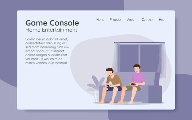 Caractère de jeunes hommes beaux, jouant à un jeu en ligne de console en se connectant à internet