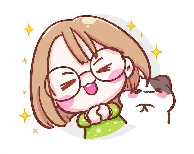 Caractère de jolie fille et petit chat féliciter l'émotion sur fond blanc avec le concept de félicitation ou de bénédiction.