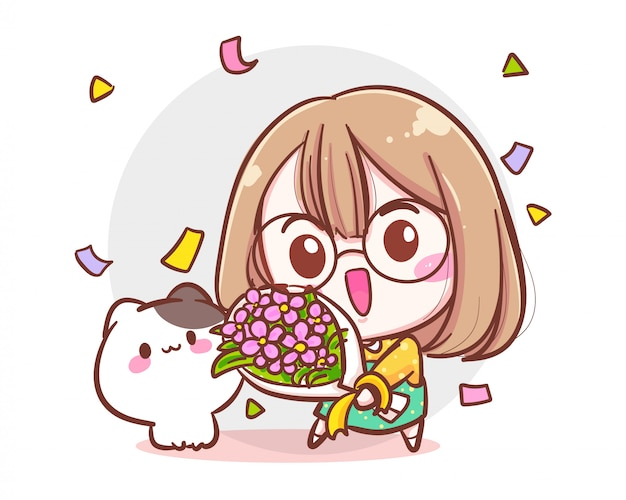 Caractère de jolie fille et petit chat tenant un bouquet de fleurs sur fond blanc avec concept de félicitations ou d'anniversaire.