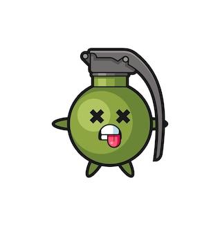Caractère de la jolie grenade avec pose morte, design de style mignon pour t-shirt, autocollant, élément de logo