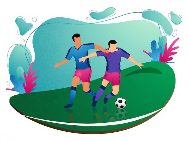 Caractère de joueurs de football sur fond de terrain de jeu