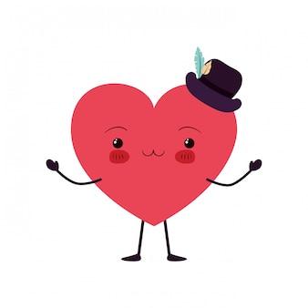 Caractère kawaii d'amour du coeur