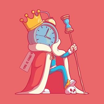 Caractère king clock dans une illustration vectorielle de pose concept de design d'inspiration de temps de motivation
