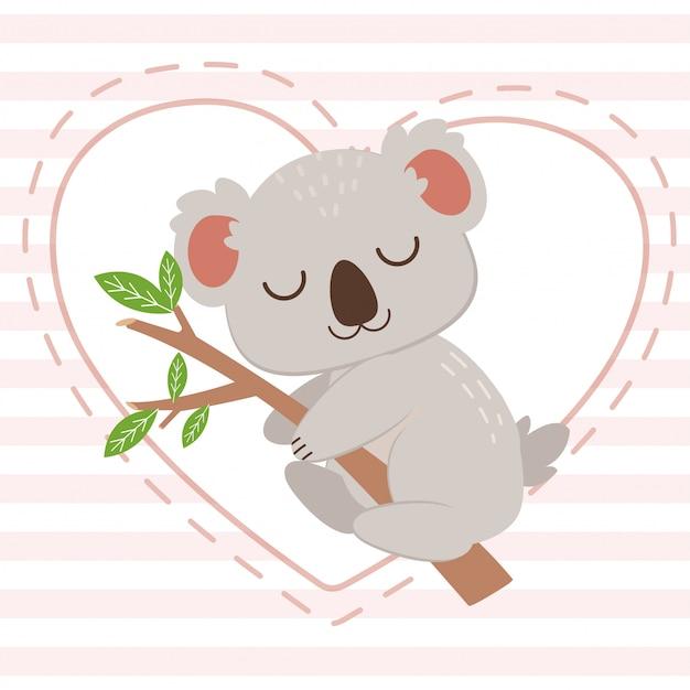 Le caractère de koala mignon étreignant la branche d'arbre sur le coeur blanc sur le fond rose. le caractère de koala mignon dormant avec une branche d'arbre. le personnage de koala mignon dans un style plat.