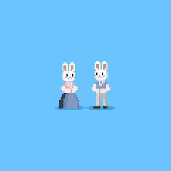 Caractère de lapin pixel en hanbok costume.chuseok.8bit.