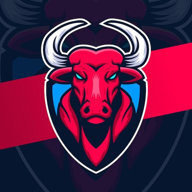 Caractère de logo d'esport de mascotte de tête de taureau avec le bouclier pour le concept de logo de sport et de jeu