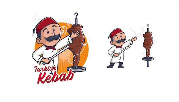Caractère de logo kebab chef