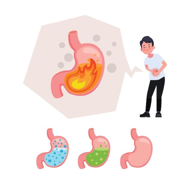 Caractère malade avec mal de ventre