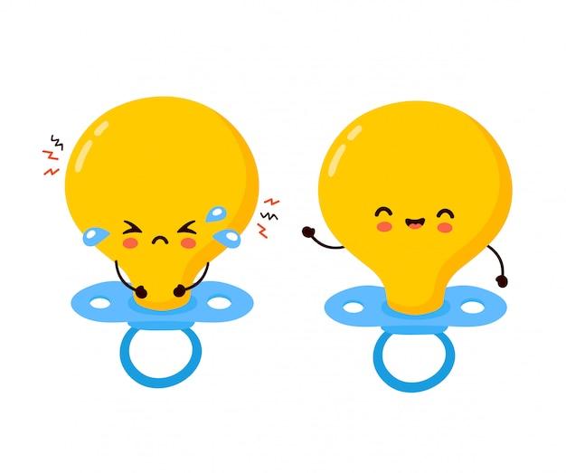 Caractère de mamelon mignon bébé pleurer heureux et triste. illustration de personnage de dessin animé