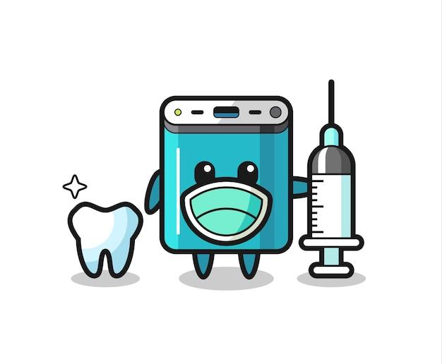 Caractère de mascotte de banque d'alimentation en tant que dentiste, design de style mignon pour t-shirt, autocollant, élément de logo