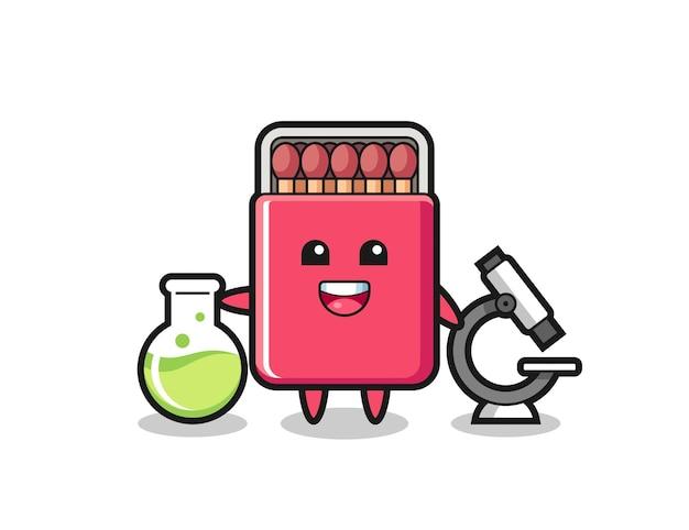Caractère de mascotte de boîte d'allumettes en tant que scientifique, design mignon