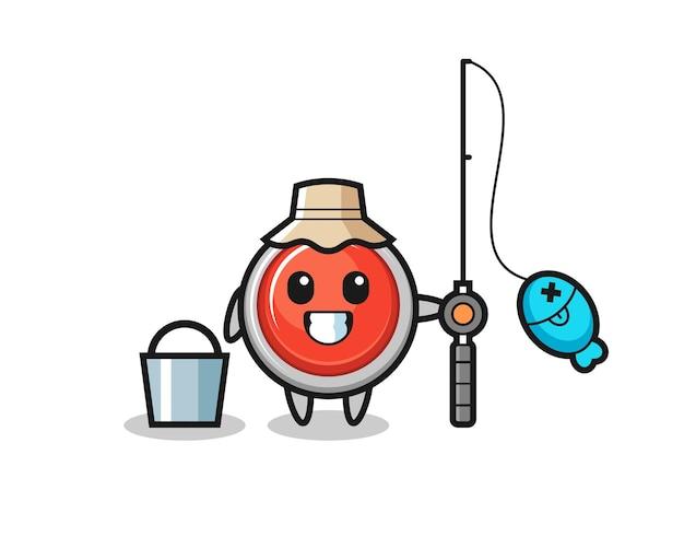 Caractère de mascotte du bouton de panique d'urgence en tant que pêcheur, conception mignonne