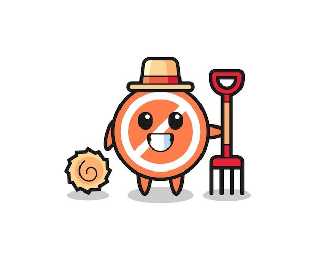 Caractère de mascotte du panneau d'arrêt en tant qu'agriculteur, design de style mignon pour t-shirt, autocollant, élément de logo