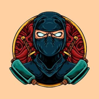 Caractère de mascotte de guerrier ninja japonais