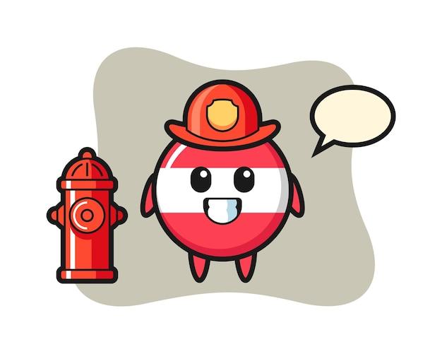 Caractère de mascotte d'insigne de drapeau autriche en tant que pompier