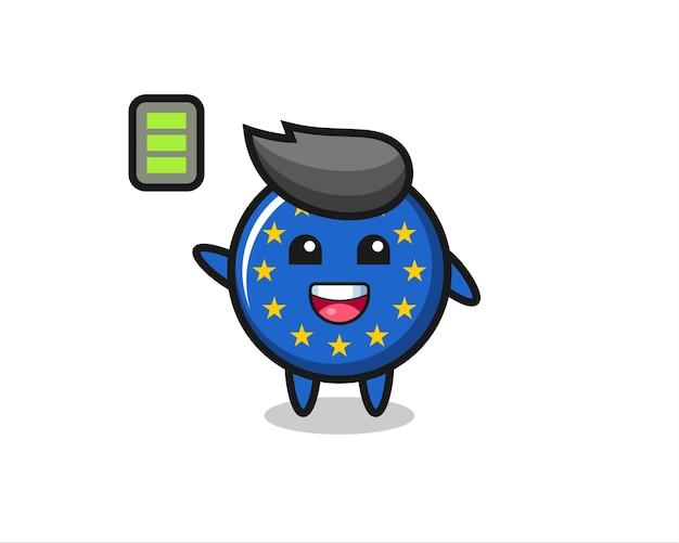 Caractère de mascotte d'insigne de drapeau de l'europe avec un geste énergique, design de style mignon pour t-shirt, autocollant, élément de logo