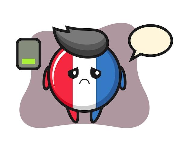 Caractère de mascotte insigne drapeau france faisant un geste fatigué