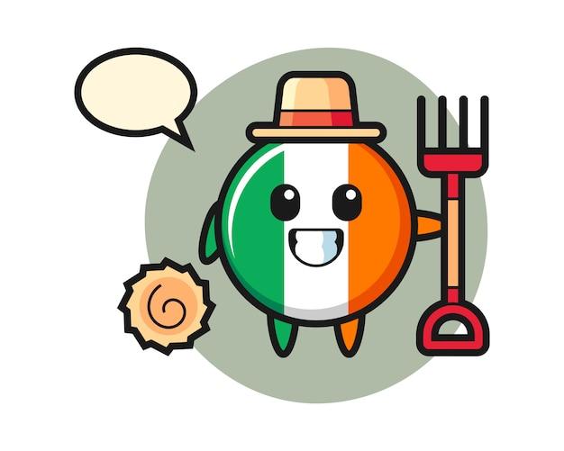 Caractère de mascotte d'insigne de drapeau d'irlande en tant qu'agriculteur